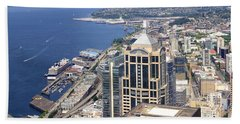 Seattle Skyscrapers At Waterfront Beach Towel by Panoramic Images