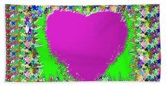 Sensual Pink Heart N Star Studded Background Beach Towel by Navin Joshi