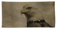 Sepia Bald Eagle Portrait Beach Sheet by Dan Sproul