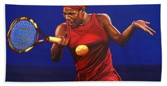 Serena Williams Painting Beach Towel by Paul Meijering