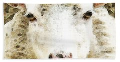 Sheep Art - White Sheep Beach Sheet by Sharon Cummings