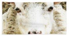 Sheep Art - White Sheep Beach Towel by Sharon Cummings