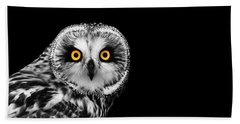 Short-eared Owl Beach Towel by Mark Rogan