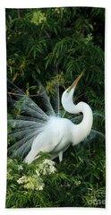 Showy Great White Egret Beach Towel by Sabrina L Ryan