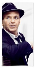 Sinatra.  Frank Sinatra Beach Towel by Iconic Images Art Gallery David Pucciarelli