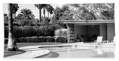 Sinatra Pool And Cabana Bw Palm Springs Beach Sheet by William Dey