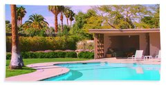 Sinatra Pool Cabana Palm Springs Beach Sheet by William Dey
