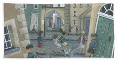 Skipping By The Green Door Beach Sheet by Peter Adderley