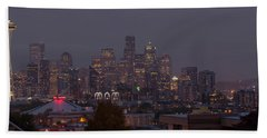 Skylines At Dusk, Seattle, King County Beach Towel by Panoramic Images