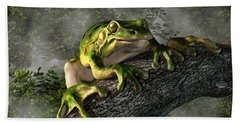 Smiling Frog Beach Towel by Daniel Eskridge