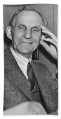 Smiling Henry Ford Beach Towel by Underwood Archives