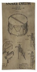 Snare Drum Patent Beach Towel by Dan Sproul