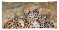 Snow Leopards Beach Towel by David Stribbling
