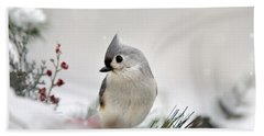 Snow White Tufted Titmouse Beach Towel by Christina Rollo