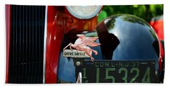 Socony Pegasus License Plate Topper Beach Towel by Paul Ward