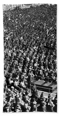 Baseball Fans At Yankee Stadium In New York   Beach Towel by Underwood Archives
