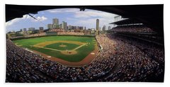 Spectators In A Stadium, Wrigley Field Beach Towel by Panoramic Images