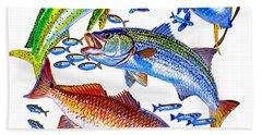 Sportfish Collage Beach Towel by Carey Chen
