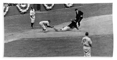 Spud Chandler Is Out At Third In The Second Game Of The 1941 Wor Beach Towel by Underwood Archives