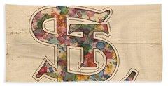 St Louis Cardinals Logo Vintage Beach Sheet by Florian Rodarte