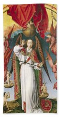 St. Michael Weighing The Souls, From The Last Judgement, C.1445-50 Oil On Panel Detail Of 170072 Beach Towel by Rogier van der Weyden