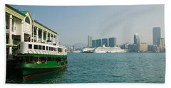 Star Ferry On A Pier With Buildings Beach Towel by Panoramic Images