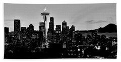 Stark Seattle Skyline Beach Towel by Benjamin Yeager