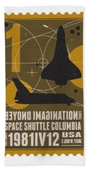 Starschips 01-poststamp - Spaceshuttle Beach Towel by Chungkong Art
