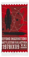 Starschips 02-poststamp - Battlestar Galactica Beach Towel by Chungkong Art