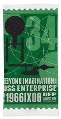 Starschips 34-poststamp - Uss Enterprise Beach Towel by Chungkong Art