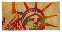Statue Of Liberty Watercolor Portrait No 2 Beach Sheet by Design Turnpike