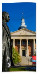 Statue With A State Capitol Building Beach Sheet by Panoramic Images