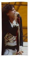 Steven Tyler Of Aerosmith At Monsters Of Rock In Oakland Ca Beach Sheet by Daniel Larsen