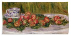 Still Life Of Strawberries And A Tea Cup Beach Towel by Pierre Auguste Renoir