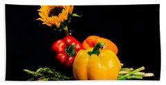 Still Life Peppers Asparagus Sunflower Beach Towel by Jon Woodhams