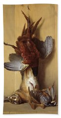 Still Life With A Hare, A Pheasant And A Red Partridge Beach Sheet by Jean-Baptiste Oudry