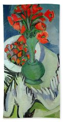 Still Life With Seagulls Poppies And Strawberries Beach Towel by Ernst Ludwig Kirchner