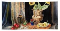 Still Life With Sunflowers Lemon Apples And Geranium  Beach Towel by Irina Sztukowski