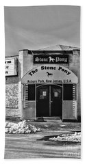 Stone Pony In Black And White Beach Sheet by Paul Ward