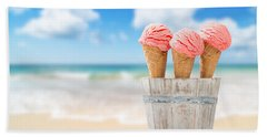 Strawberry Ice Creams Beach Towel by Amanda Elwell