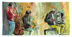 Street Musicians In Dublin Beach Sheet by Miki De Goodaboom