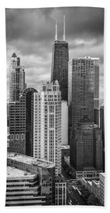 Streeterville From Above Black And White Beach Towel by Adam Romanowicz