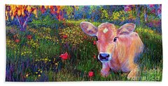 Such A Contented Cow Beach Towel by Jane Small