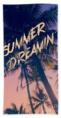 Summer Dreamin Tropical Island Palm Trees Sunrise Beach Towel by Beverly Claire Kaiya