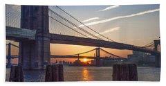 Sunrise - Brooklyn And Manhattan Bridges Beach Sheet by Bill Cannon