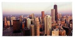 Sunrise On Chicago Beach Towel by Jon Neidert