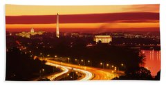Sunset, Aerial, Washington Dc, District Beach Towel by Panoramic Images