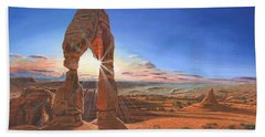 Sunset At Delicate Arch Utah Beach Towel by Richard Harpum