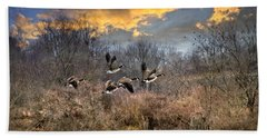 Sunset Geese Beach Sheet by Christina Rollo