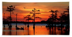 Sunset On The Bayou Beach Towel by Carey Chen